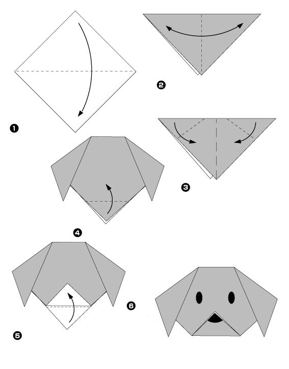 Origami t te de chien facile pour enfant 2 - Origami facile a faire animaux ...